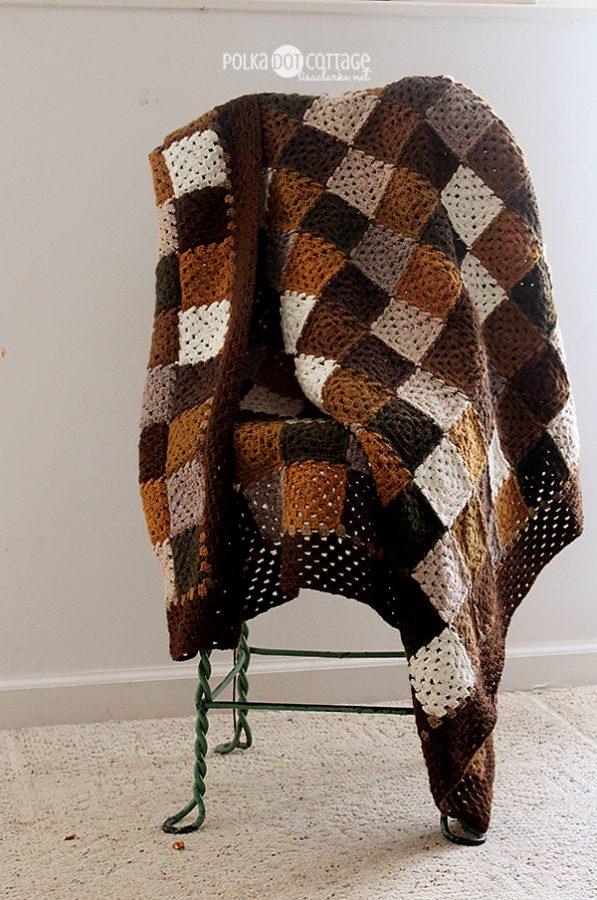 Neutral Squares crochet blanket, at Polka Dot Cottage