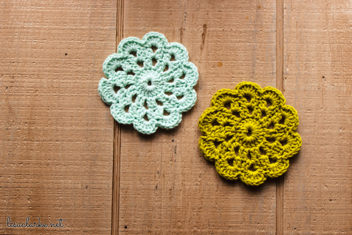 Crocheted coasters at Polka Dot Cottage